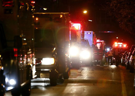 Ambulances line up near the Hoboken University Medical Center, where patients were evacuated in anticipation of Hurricane Sandy, Sunday, Oct. 28, 2012, in Hoboken, N.J.  <span class=meta>(AP Photo&#47; Julio Cortez)</span>