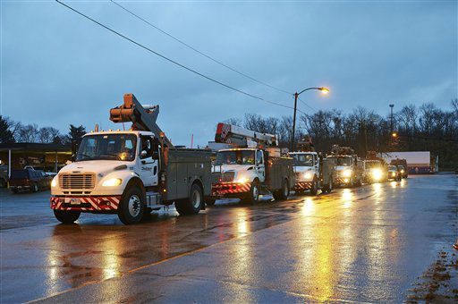 Line crews and support personnel from FirstEnergy&#39;s Ohio Edison, The Illuminating Company, and Toledo Edison utilities leave Ohio from dozens of locations heading to New Jersey in advance of Hurricane Sandy. <span class=meta>(AP photo&#47; Uncredited)</span>