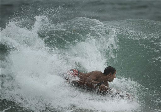 "<div class=""meta image-caption""><div class=""origin-logo origin-image ""><span></span></div><span class=""caption-text"">A surfer at the Boynton Beach, Fla. inlet battles the rough surf Thursday, Oct. 25,2012.  (AP Photo/ J Pat Carter)</span></div>"