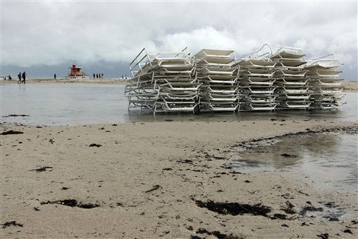 "<div class=""meta ""><span class=""caption-text "">Unused beach chairs sit stacked up on the beach as Hurricane Sandy passes offshore to the east, Friday, Oct. 26, 2012. (AP Photo/ Lynne Sladky)</span></div>"