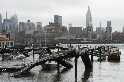 The twisted remains of a Hudson River marina are seen across from New York City as a result of superstorm Sandy on Tuesday, Oct. 30, 2012 in Hoboken, NJ.