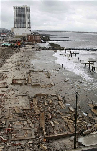 Foundations and pilings are all that remain of brick buildings and a boardwalk in Atlantic City, N.J., Tuesday, Oct. 30, 2012. <span class=meta>(AP Photo&#47; Seth Wenig)</span>