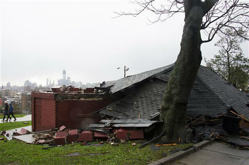 An over one hundred year old gazebo sits in ruins after collapsing during superstorm Sandy on Tuesday, Oct. 30, 2012 in Jersey City, NJ.  <span class=meta>(Photo&#47;Charles Sykes)</span>