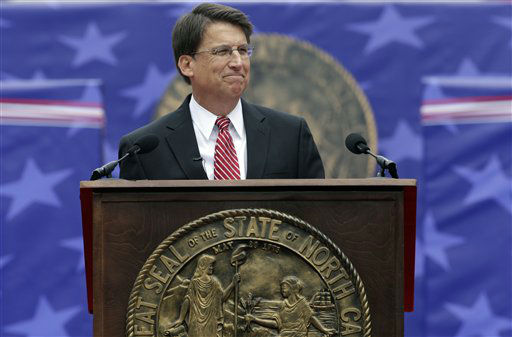 "<div class=""meta image-caption""><div class=""origin-logo origin-image ""><span></span></div><span class=""caption-text"">North Carolina Gov. Pat McCrory smiles as he delivers his inaugural address after taking the oath of office during ceremonies at the state Capitol in Raleigh, N.C., Saturday, Jan. 12, 2013.   (AP Photo/ Gerry Broome)</span></div>"