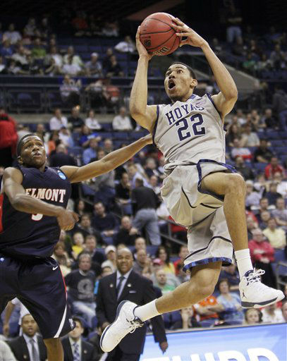 Georgetown&#39;s Otto Porter &#40;22&#41; shoots over Belmont&#39;s Kerron Johnson during the second half of an NCAA college basketball tournament second-round game, Friday, March 16, 2012, in Columbus, Ohio. Georgetown won 74-59. <span class=meta>(AP Photo&#47; Jay LaPrete)</span>