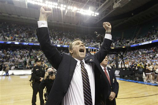 Lehigh head coach Brett Reed reacts at the end of an NCAA tournament second-round college basketball game against Duke in Greensboro, N.C., Friday, March 16, 2012. Lehigh won 75-70.  <span class=meta>(AP Photo&#47; Chuck Burton)</span>