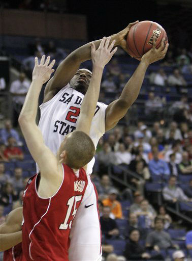 San Diego State&#39;s Xavier Thames, top, shoots over NC State&#39;s Scott Wood during the first half of an NCAA college basketball tournament second-round game Friday, March 16, 2012, in Columbus, Ohio.  <span class=meta>(AP Photo&#47; Jay LaPrete)</span>
