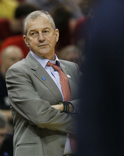 "<div class=""meta ""><span class=""caption-text "">Connecticut head coach Jim Calhoun is pictured in the first half of their NCAA tournament second-round college basketball game against Iowa State in Louisville, Ky., Thursday, March 15, 2012.  (AP Photo/ John Bazemore)</span></div>"