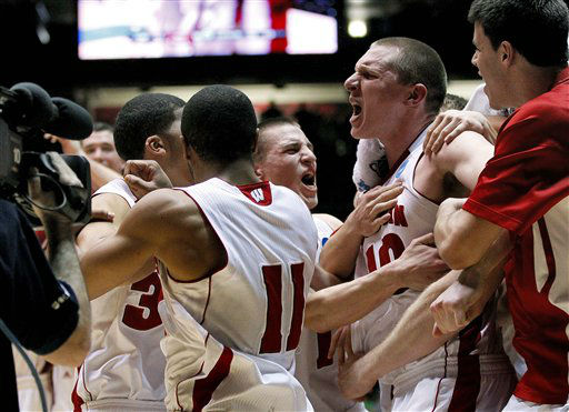 Wisconsin players celebrate as time expires during the second half of an NCAA tournament third-round college basketball game againt Vanderbilt, Saturday, March 17, 2012, in Albuquerque, N.M. Wisconsin won 60-57.  <span class=meta>(AP Photo&#47; Matt York)</span>