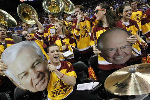 "<div class=""meta ""><span class=""caption-text "">Members of the Iowa State pep band perform in the second half of their NCAA tournament second-round college basketball game against Connecticut in Louisville, Ky., Thursday, March 15, 2012.  (AP Photo/ Dave Martin)</span></div>"