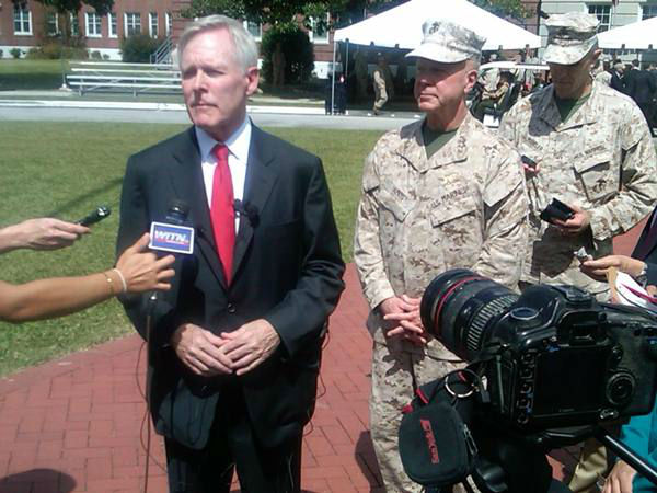 "<div class=""meta ""><span class=""caption-text "">Secretary of the Navy Ray Mabus along with Commandant of the Marine Corps, Gen. James F. Amos, present the Presidential Unit Citation award to the 2d Marine Expeditionary Brigade for actions while deployed to Afghanistan in support of Operation Enduring Freedom 2009-2010. It's the U.S. military's highest unit award. (WTVD Photo/ Gilbert Baez)</span></div>"