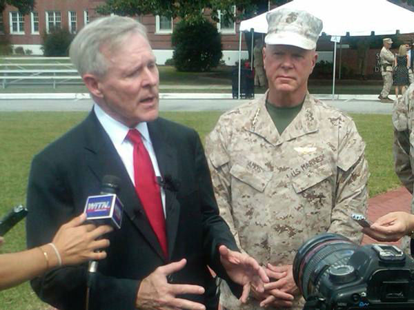"<div class=""meta image-caption""><div class=""origin-logo origin-image ""><span></span></div><span class=""caption-text"">Secretary of the Navy Ray Mabus along with Commandant of the Marine Corps, Gen. James F. Amos, present the Presidential Unit Citation award to the 2d Marine Expeditionary Brigade for actions while deployed to Afghanistan in support of Operation Enduring Freedom 2009-2010. It's the U.S. military's highest unit award. (WTVD Photo/ Gilbert Baez)</span></div>"