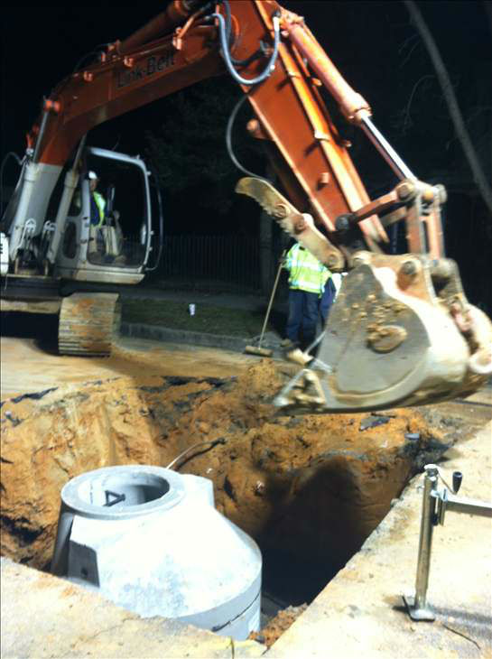 The sinkhole appeared Thursday on North Bloodworth Street between Polk Street and Oakwood Avenue near the Oakwood Inn. <span class=meta>(WTVD Photo)</span>