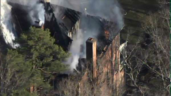 "<div class=""meta ""><span class=""caption-text "">Crews battled a fire at a home near the Treyburn Country Club area of Durham. (WTVD Photo)</span></div>"