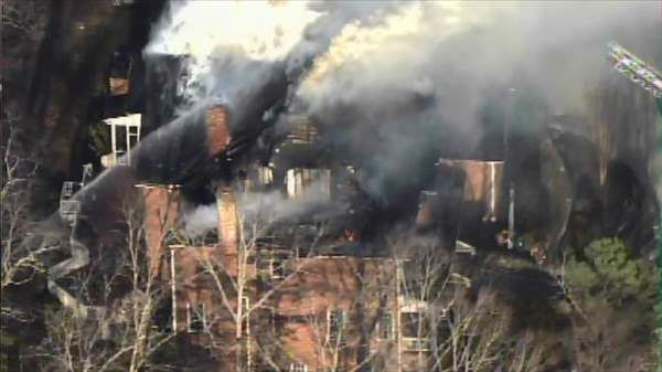 Crews battled a fire at a home near the Treyburn Country Club area of Durham. <span class=meta>(WTVD Photo)</span>