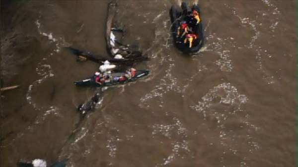 At least four people had to be rescued from the Cape Fear River near the Buckhorn Dam Monday evening. <span class=meta>(WTVD Photo)</span>