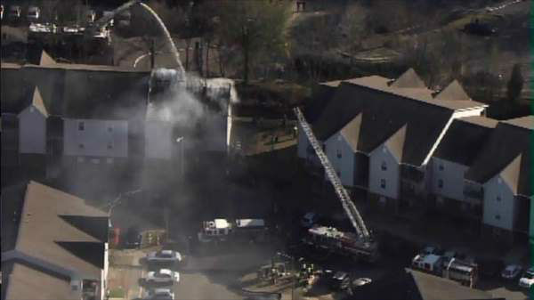 "<div class=""meta ""><span class=""caption-text "">Firefighters battled a large fire at the Brookstone Apartments in Fayetteville late Friday afternoon. (WTVD Photo)</span></div>"