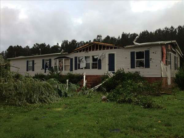 A home damaged in Franklin County. <span class=meta>(WTVD&#47;UReport Photo)</span>