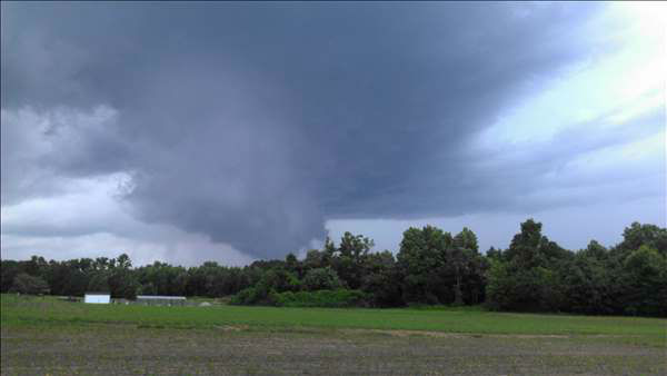 Funnel cloud near NC 97&#47;231, Frazier Road in Nash County. <span class=meta>(WTVD Photo&#47; UReport)</span>