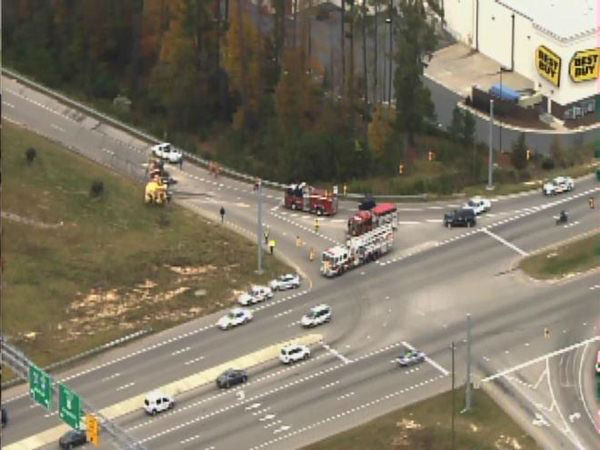 A cement truck overturned on the I-540 on ramp at Knightdale Boulevard Tuesday afternoon. <span class=meta>(WTVD Photo)</span>