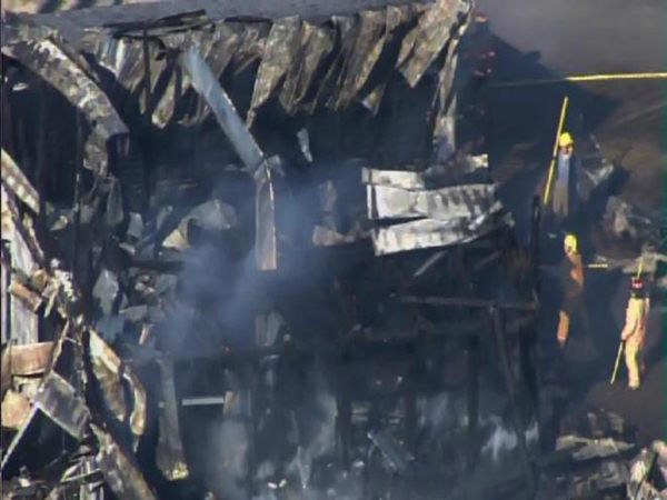 Pictures from Chopper 11 showed a farm building with its roof missing after report of explosion and fire in Edgecombe County. <span class=meta>(WTVD Photo)</span>