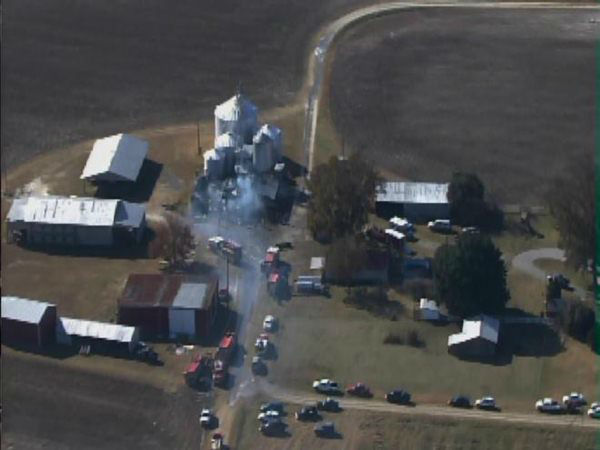 Pictures from Chopper 11 showed a farm building with its roof missing after report of explosion and fire in Edgecombe County.
