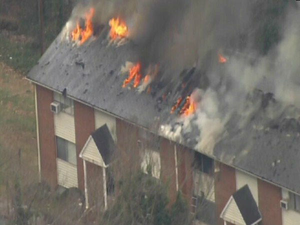 Flames heavily damaged a Chapel Hill apartment complex Monday. <span class=meta>(WTVD Photo)</span>