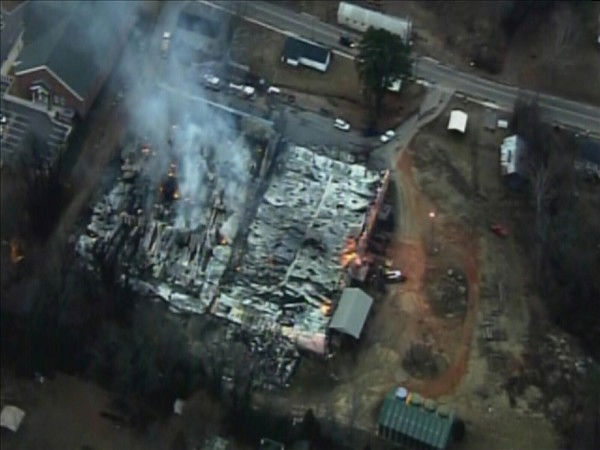 Flames ravage the Southern States Farm Supply...