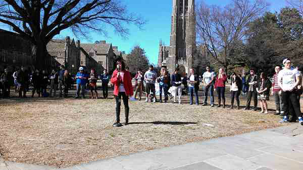 Students protest a race-themed party at Duke University. <span class=meta>(WTVD Photo&#47; Caitlin Knute)</span>