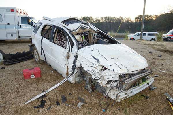 "<div class=""meta ""><span class=""caption-text "">Five were hurt when this SUV flipped along Star Ridge Road near Carthage. (WTVD Photo/ Image courtesy Frank Staples)</span></div>"