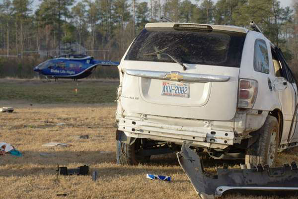 Five were hurt when this SUV flipped along Star Ridge Road near Carthage. <span class=meta>(WTVD Photo&#47; Image courtesy Frank Staples)</span>