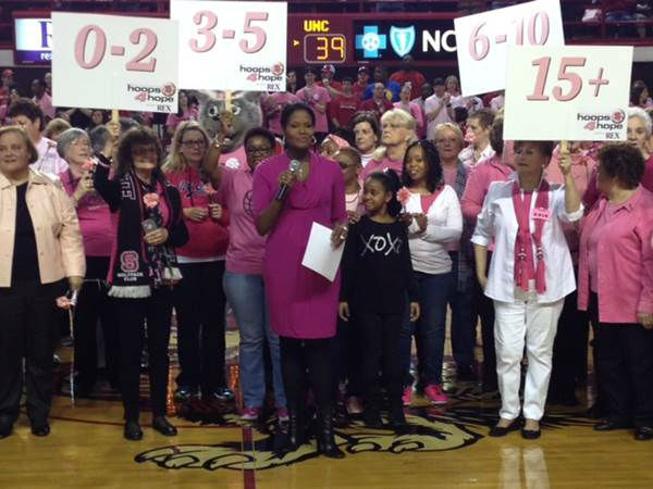 A special basketball game took place at NC State Sunday afternoon. The event raises awareness about breast cancer, something very close to the Wolfpack nation. Head women&#39;s basketball coach Kay Yow died from the disease in 2009. Our own Tisha Powell had the privilege of serving as the emcee. Money raised from ticket sales and a silent auction went to support the Kay Yow Cancer Fund, which works to fund research to find a cure.  <span class=meta>(WTVD Photo&#47; Tommy Harris)</span>