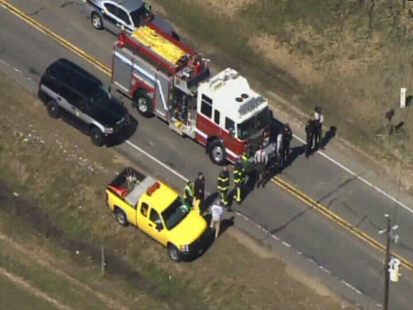 A tanker truck and a car were involved in a crash on Highway 15&#47;501 north of Carthage, in Moore County, close to Kelly Rd. <span class=meta>(WTVD Photo)</span>