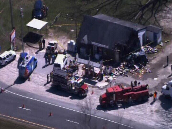 "<div class=""meta image-caption""><div class=""origin-logo origin-image ""><span></span></div><span class=""caption-text"">Investigators say a tractor-trailer truck ran off the road and slammed into a convenience store on U.S. 301 outside Lucama Friday around 9:30 a.m. No one in the store was hurt. The driver was taken to the Wilson Medical Center for treatment. (WTVD Photo)</span></div>"