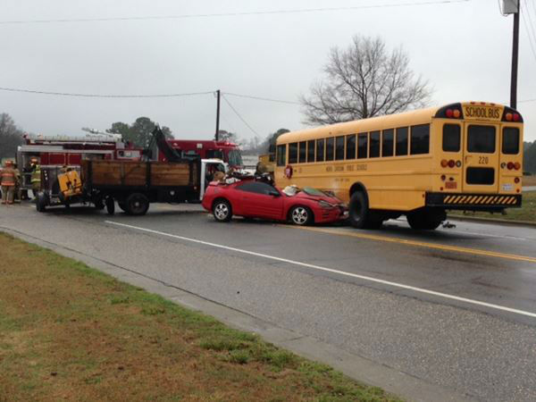 Students and people in two other vehicles were hurt in a Johnston County crash. <span class=meta>(WTVD Photo)</span>