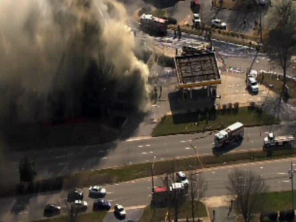Firefighters battled a large blaze at a Raleigh gas station Friday afternoon. <span class=meta>(WTVD Photo)</span>