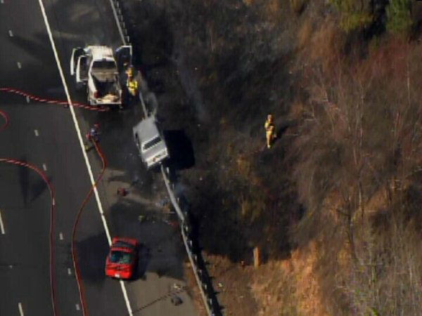 "<div class=""meta image-caption""><div class=""origin-logo origin-image ""><span></span></div><span class=""caption-text"">A small woods fire burned along Interstate 40 west near the Wade Avenue exit after a crash involving several vehicles Friday afternoon. (WTVD Photo)</span></div>"