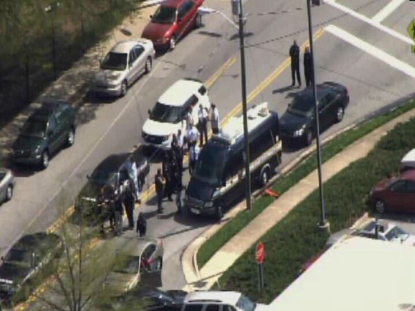 Police search on the campus of North Carolina A&#38;T Friday. <span class=meta>(WTVD Photo)</span>