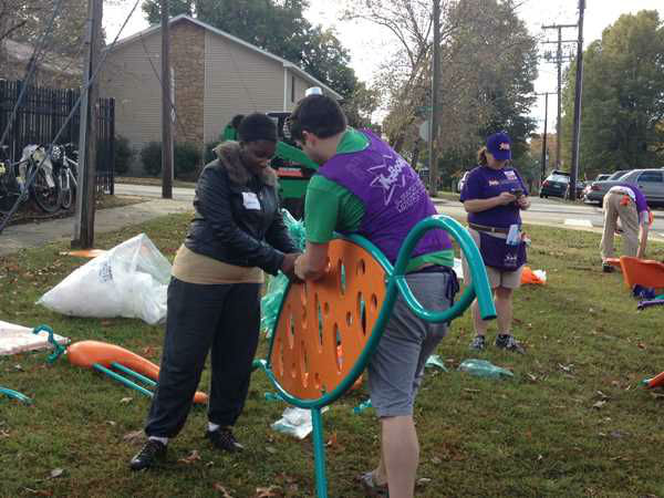 ABC11 staffers joined dozens of community volunteers to build a new playground for children at Durham&#39;s Oakwood Avenue Park. <span class=meta>(WTVD Photo&#47; Lori Denberg)</span>