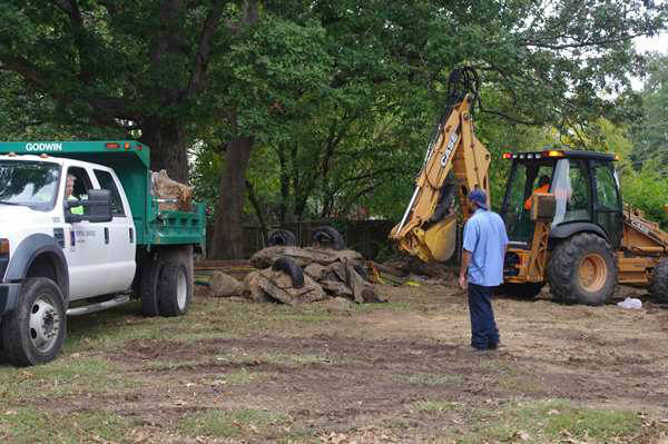 Demolition of the old playground at Durham&#39;s Oakwood Avenue Park.  <span class=meta>(WTVD Photo)</span>