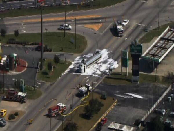 "<div class=""meta image-caption""><div class=""origin-logo origin-image ""><span></span></div><span class=""caption-text"">A tanker truck carrying 8,000 gallons of ethanol fuel flipped Tuesday afternoon on US Highway 70 near Hwy 301 in Selma. (WTVD Photo)</span></div>"