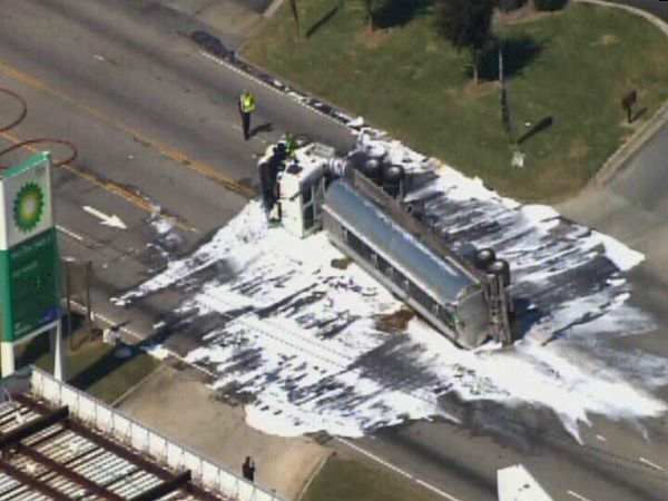 A tanker truck carrying 8,000 gallons of ethanol fuel flipped Tuesday afternoon on US Highway 70 near Hwy 301 in Selma. <span class=meta>(WTVD Photo)</span>