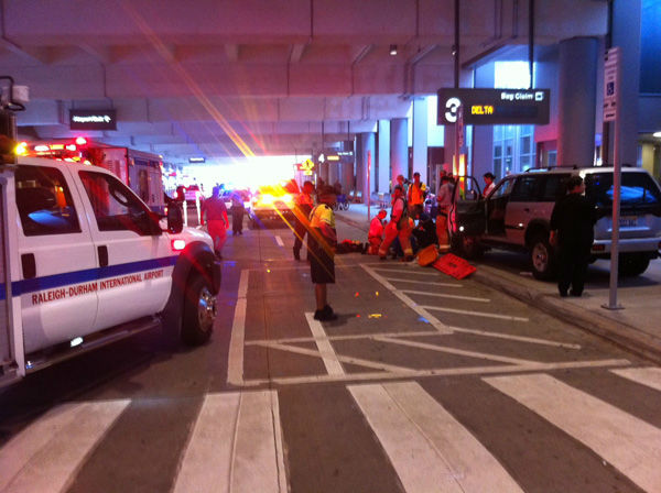"<div class=""meta ""><span class=""caption-text "">Three people were stuck by a vehicle outside of RDU's Terminal 2 Monday evening around 7 p.m.  (WTVD Photo/ Suzanne Snipes)</span></div>"