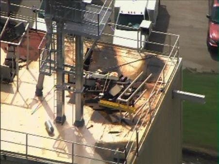"<div class=""meta ""><span class=""caption-text "">Authorities said a contract employee fell 60 feet into a grain elevator at H.J. Baker and Bro Inc. in Sanford Monday. Officials told ABC 11 the man was rescued around 4:45 p.m.  (Photo/WTVD Photo)</span></div>"