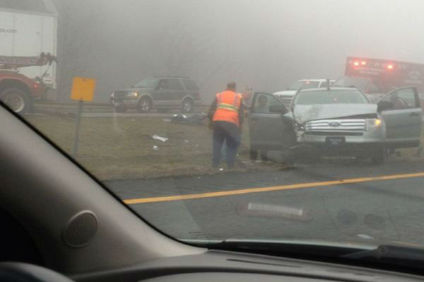 The scene following a 75-vehicle pileup on Interstate 77 near the Virginia-North Carolina border in Galax, Va., on Sunday, March 31, 2013. <span class=meta>(WGHP Photo)</span>