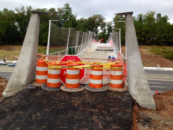 The opening of the bridge across I-40 was pushed back to December due to flaws in a safety fence <span class=meta>(WTVD Photo&#47; Anthony Wilson)</span>