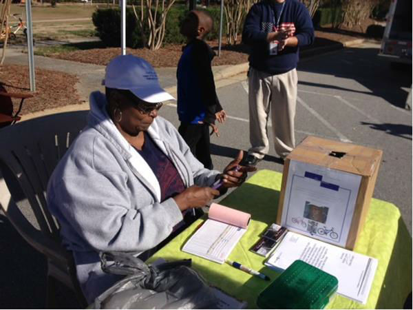"<div class=""meta ""><span class=""caption-text "">The wife of Moses Mathis held a bike dropoff in Raleigh Saturday to help continue the tradition of donating bicycles to children.  (WTVD Photo/ Lori Denberg)</span></div>"