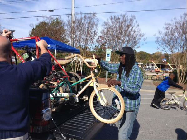 The wife of Moses Mathis held a bike dropoff in Raleigh Saturday to help continue the tradition of donating bicycles to children.  <span class=meta>(WTVD Photo&#47; Lori Denberg)</span>