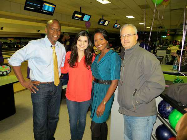 Members of the Eyewitness News Team bowling in support of Big Brothers Big Sisters of the Triangle <span class=meta>(WTVD Photo&#47; Tisha Powell)</span>