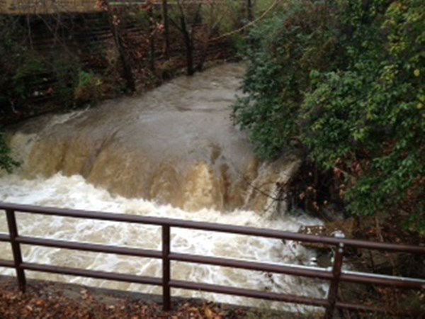 "<div class=""meta image-caption""><div class=""origin-logo origin-image ""><span></span></div><span class=""caption-text"">Cross Creek in Fayetteville is on the rise after a morning of heavy rain  (WTVD Photo/ Lou Guilette)</span></div>"
